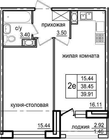 2Е-к.кв, 39.91 м², 3 этаж