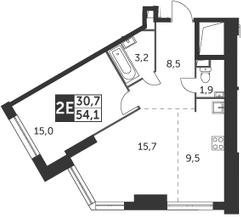 2Е-комнатная, 54.1 м²– 2