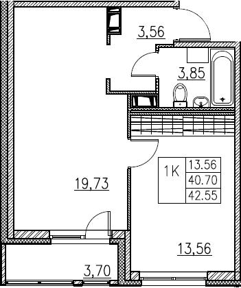 2Е-комнатная, 42.55 м²– 2