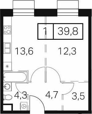 1-к.кв, 39.8 м²