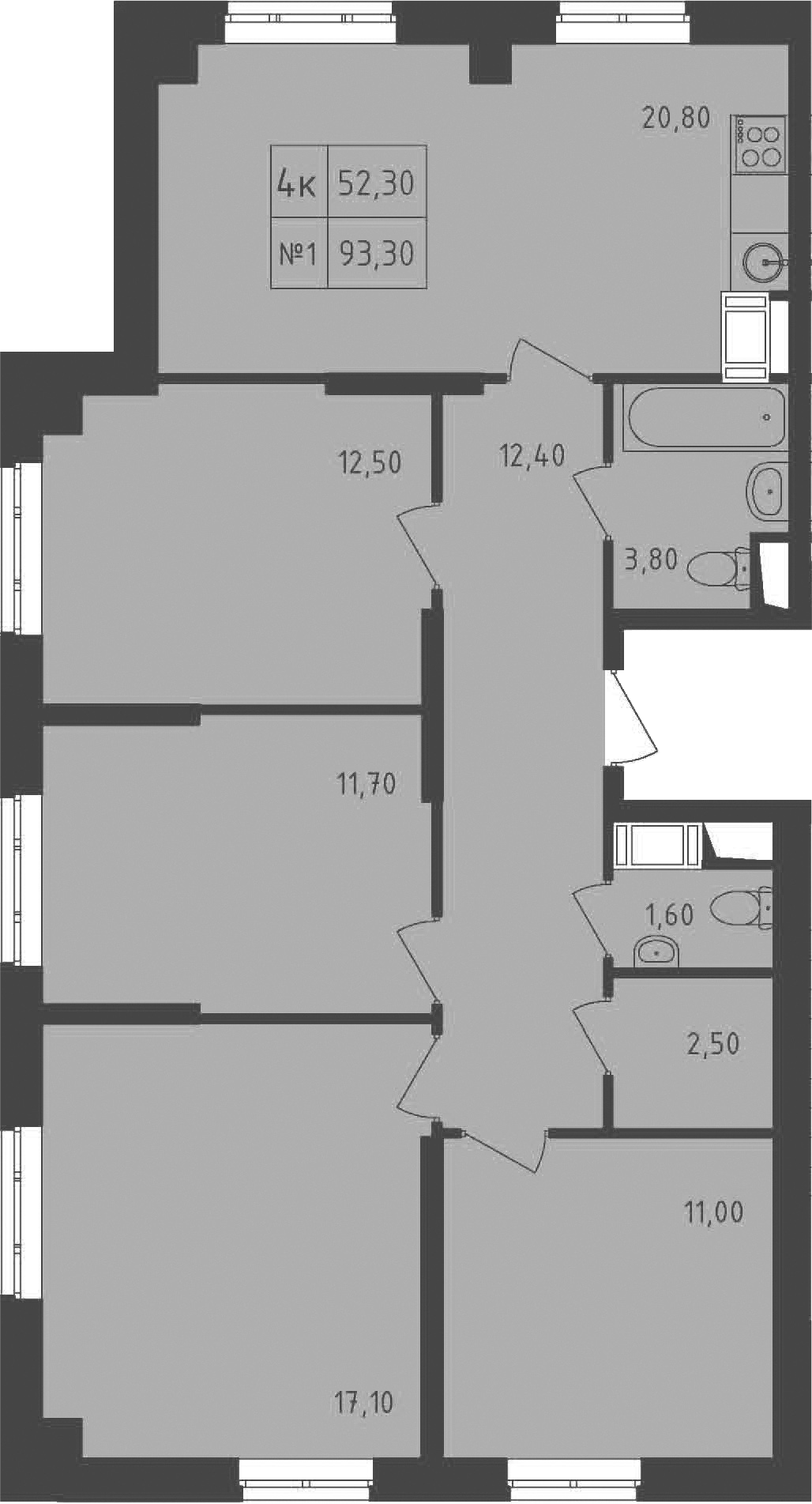 4-к.кв, 93.3 м²