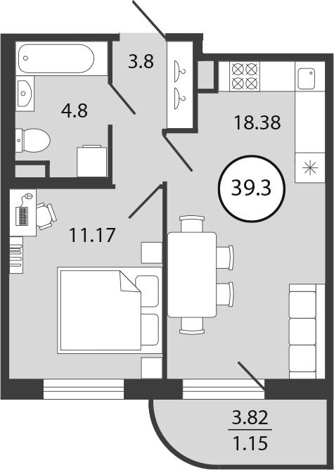 2Е-комнатная, 39.3 м²– 2