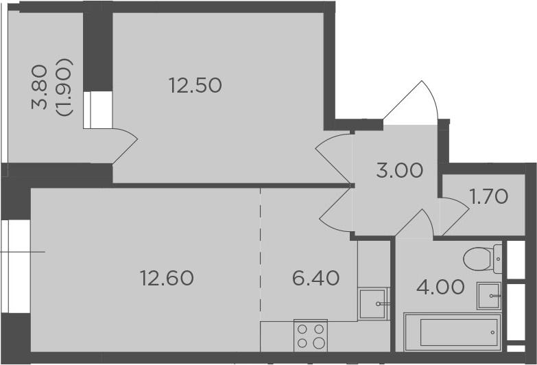 2Е-к.кв, 42.1 м²