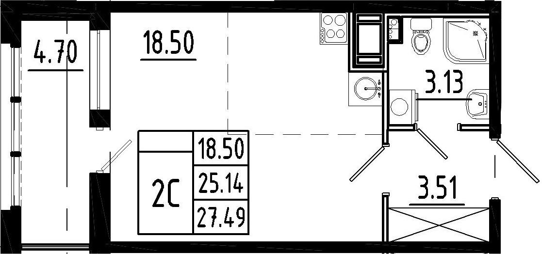 Студия, 25.14 м²– 2