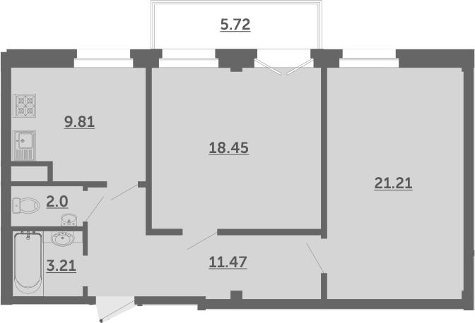2-к.кв, 67.9 м²