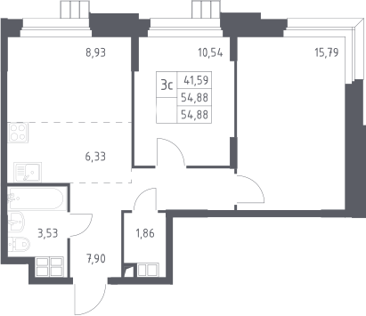 3Е-к.кв, 54.88 м², от 15 этажа