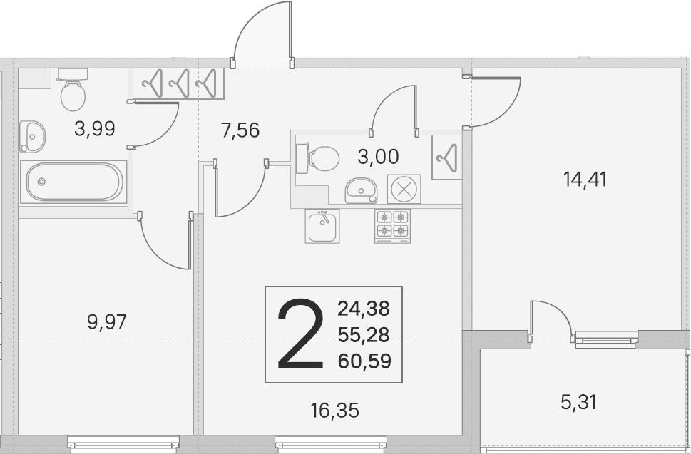 3Е-к.кв, 55.28 м², 1 этаж