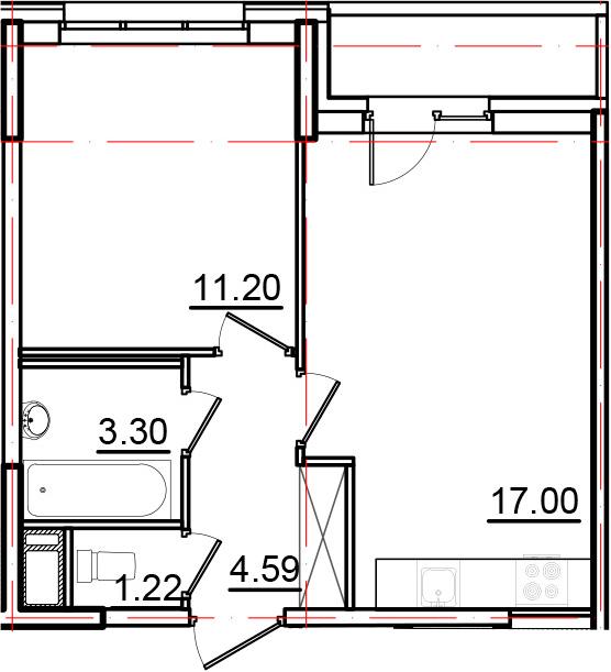 2Е-к.кв, 38.85 м², от 3 этажа