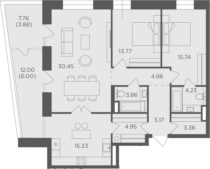 3-комнатная, 111.72 м²– 2