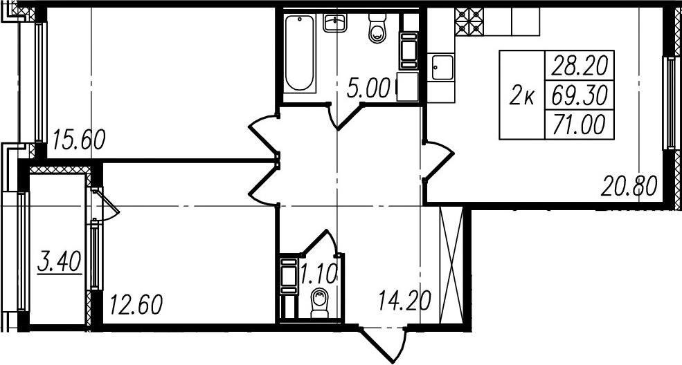 3Е-к.кв, 69.3 м²