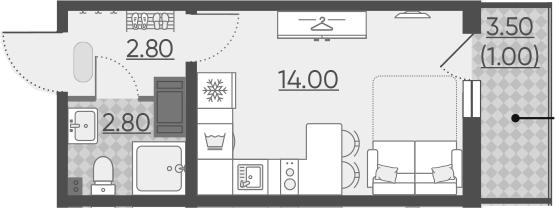 Студия, 20.3 м²
