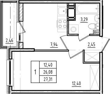 1-к.кв, 26.08 м², 15 этаж
