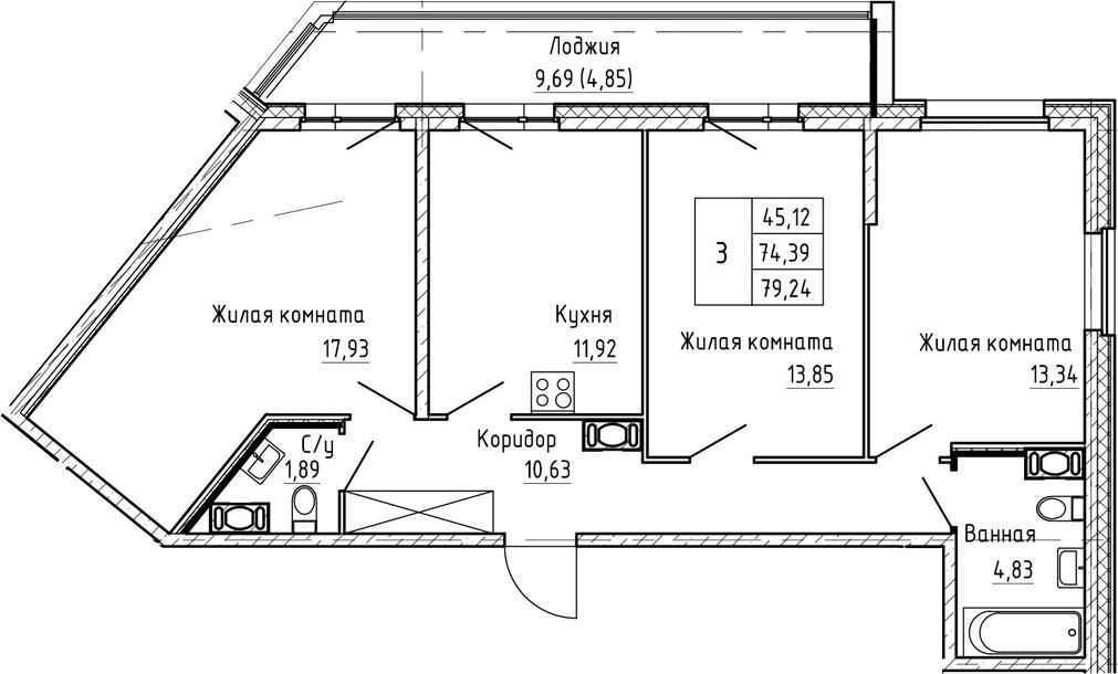 3-к.кв, 79.24 м², от 3 этажа