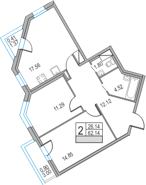 3Е-комнатная, 62.14 м²– 2