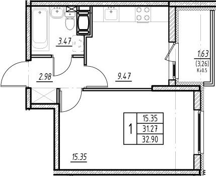1-к.кв, 34.53 м²
