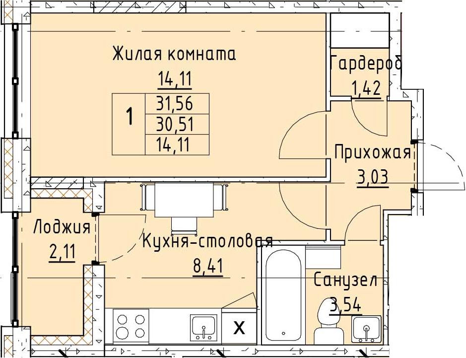 1-к.кв, 32.61 м²