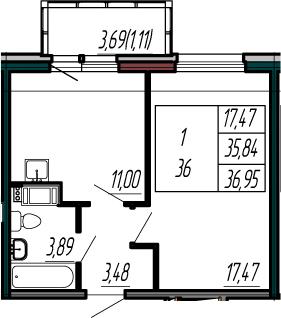 1-к.кв, 39.53 м²