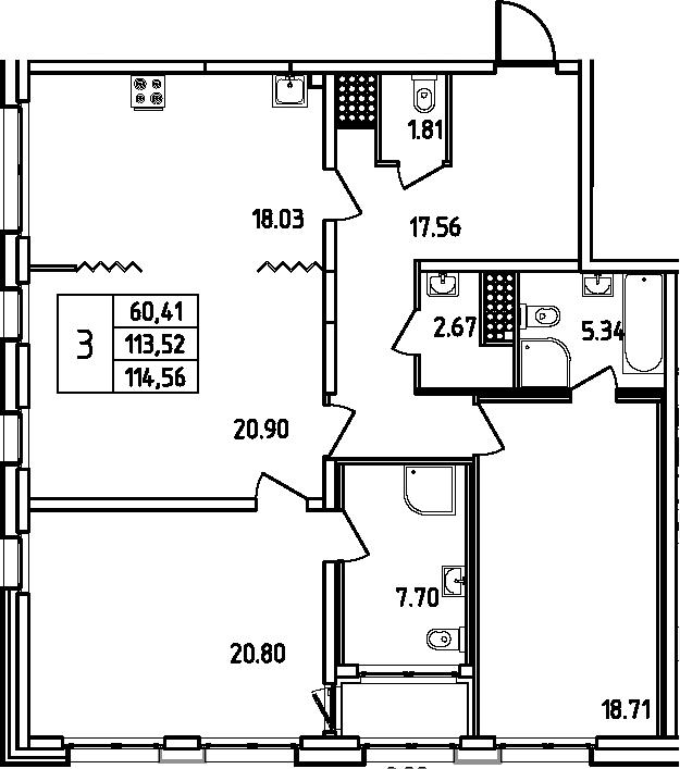 4Е-к.кв, 114.56 м², 13 этаж