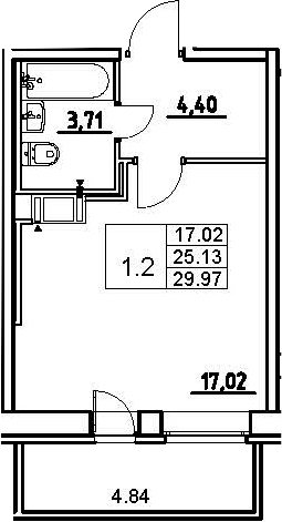Студия, 29.97 м²