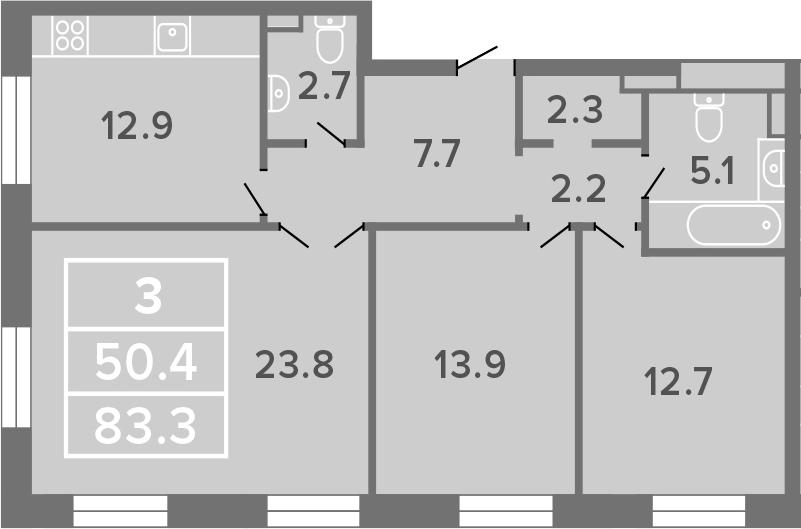 3-к.кв, 83.3 м²