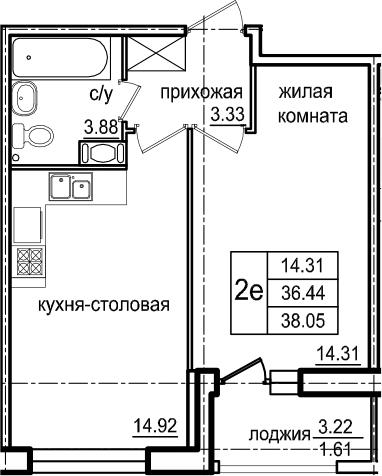 2Е-к.кв, 38.05 м², 4 этаж