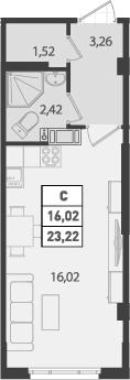 Студия, 23.22 м²