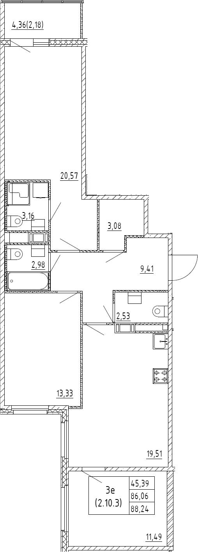4Е-комнатная, 88.24 м²– 2