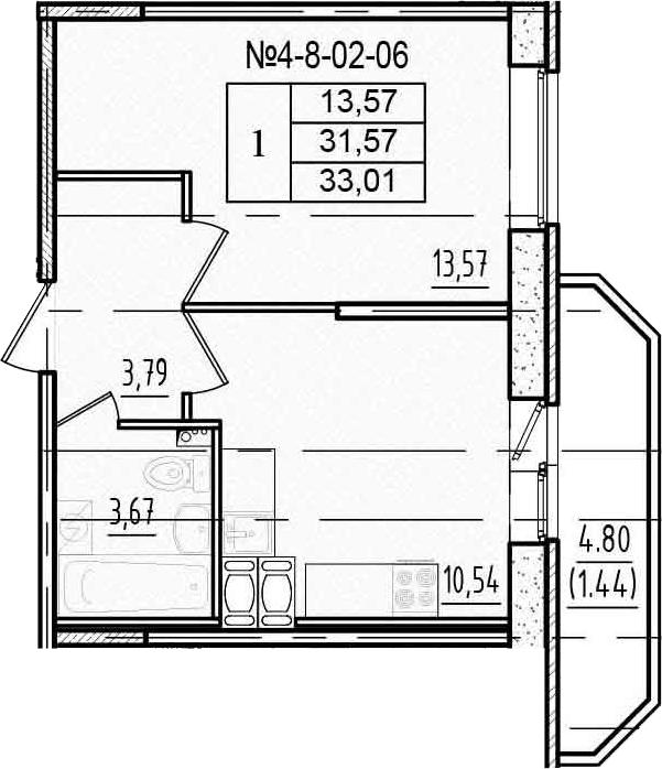 1-к.кв, 36.37 м²