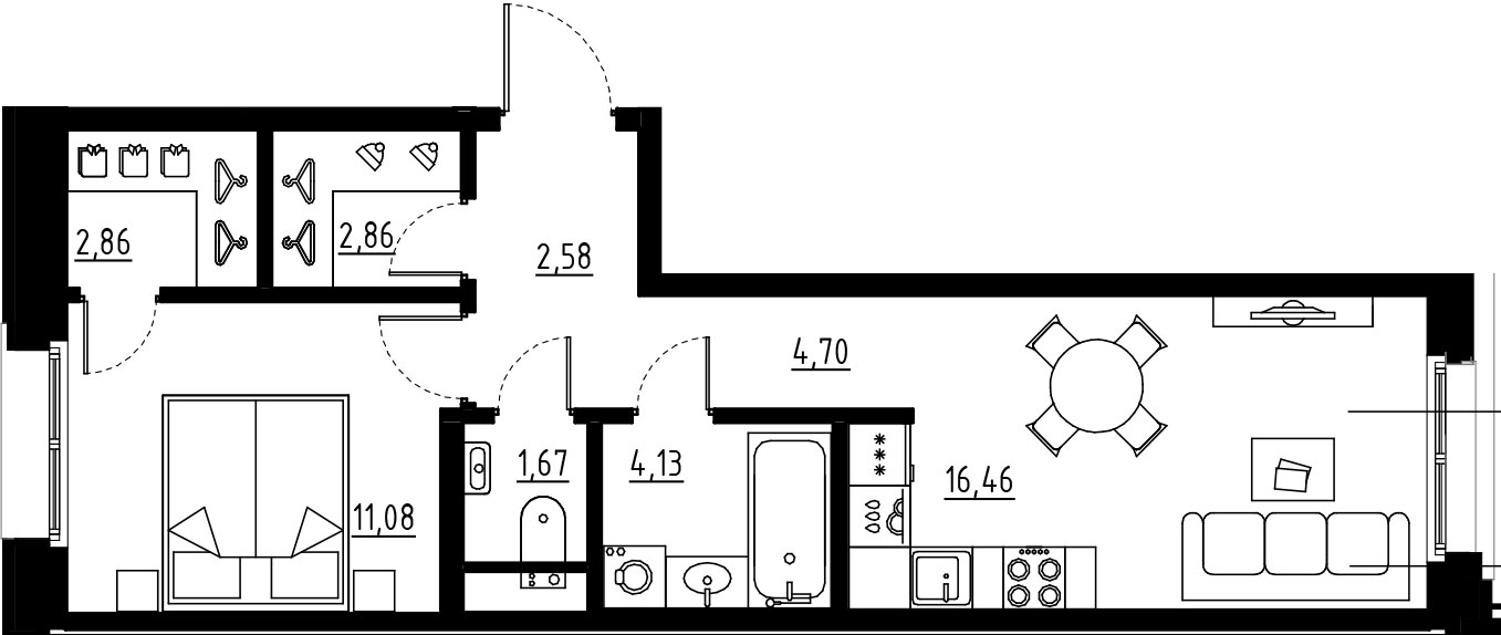2Е-комнатная, 46.34 м²– 2