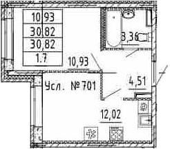1-к.кв, 30.82 м²