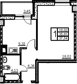 1-к.кв, 39.26 м²