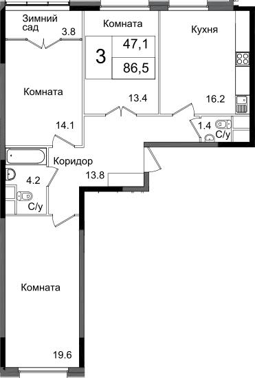 3-комнатная, 86.5 м²– 2