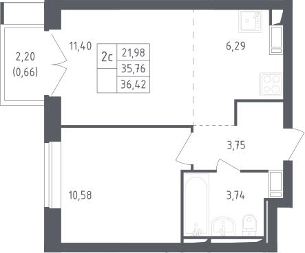 2Е-комнатная, 36.42 м²– 2