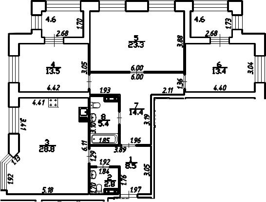 3-к.кв, 114.7 м²