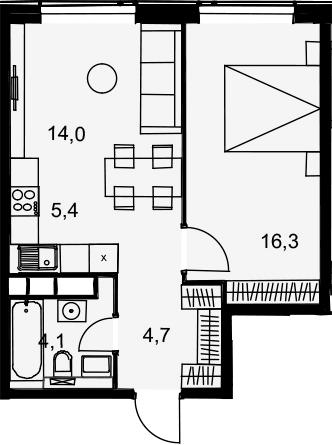 2Е-комнатная квартира, 44.5 м², 27 этаж – Планировка