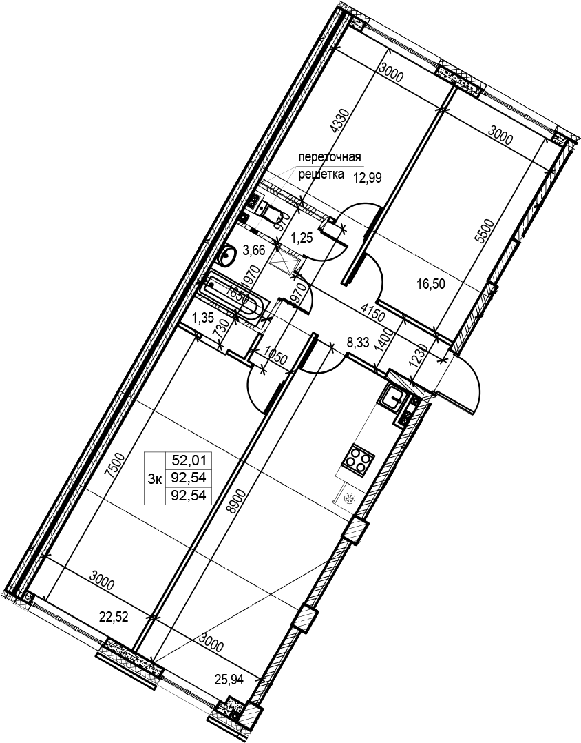4Е-к.кв, 92.54 м², 3 этаж