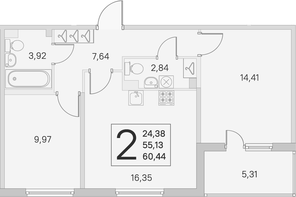 3Е-к.кв, 55.13 м², 2 этаж