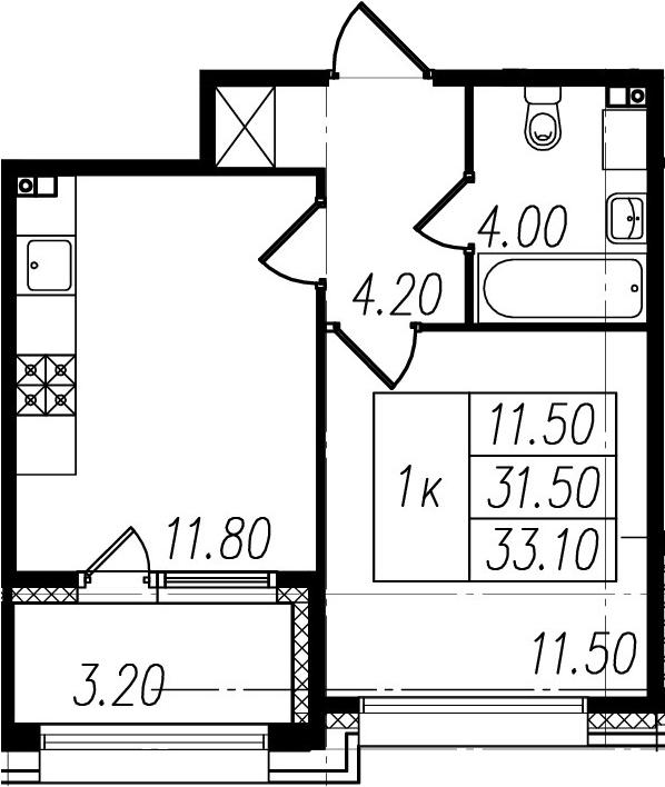 1-к.кв, 31.5 м², 1 этаж