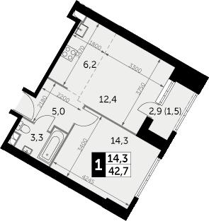1-к.кв, 44.2 м²