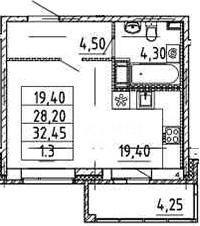 Студия, 28.2 м²