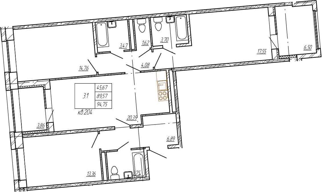 4Е-комнатная, 89.57 м²– 2