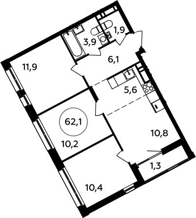 4Е-комнатная, 62.1 м²– 2