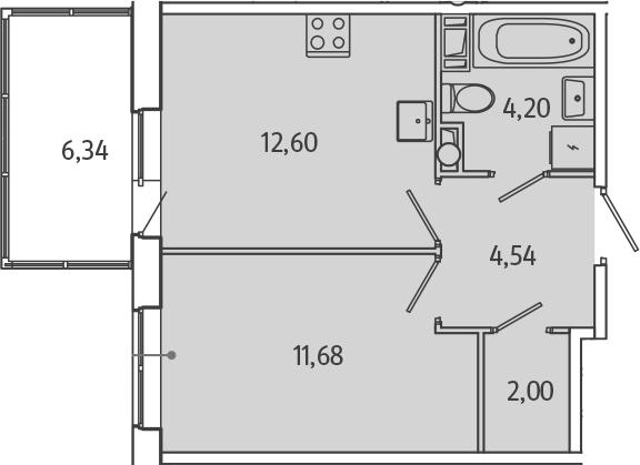 1-комнатная, 36.92 м²– 2