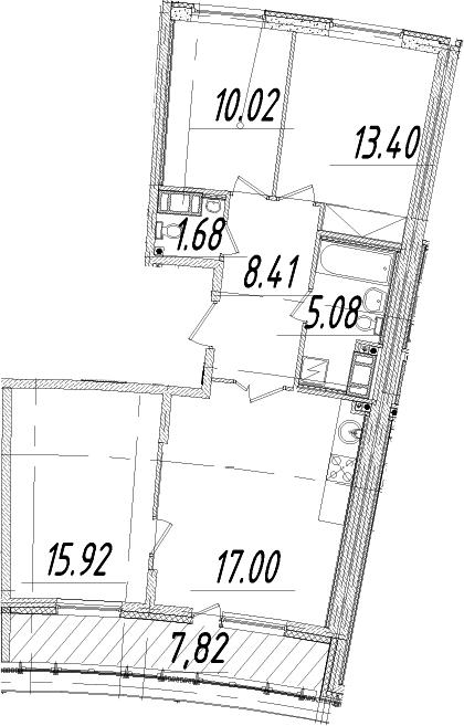 3-к.кв, 75.42 м²
