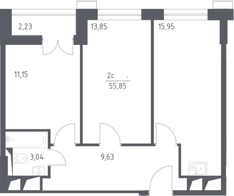 3Е-комнатная, 55.85 м²– 2