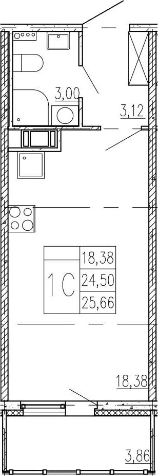 Студия, 28.36 м²