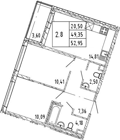 3Е-к.кв, 51.15 м², 2 этаж