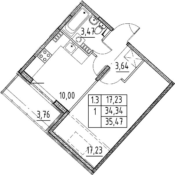 1-к.кв, 34.34 м², 5 этаж