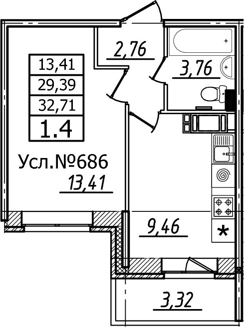 1-к.кв, 32.71 м²