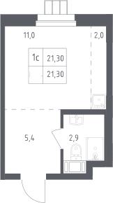 Студия, 21.3 м²– 2